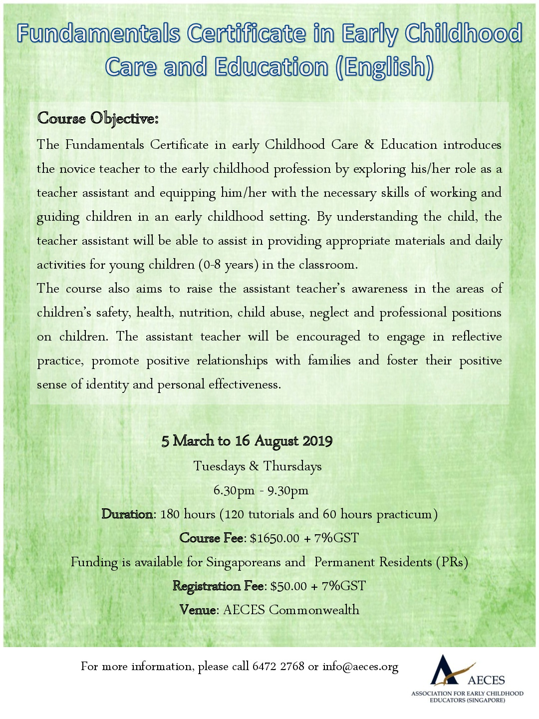 Foundation Courses Aeces Association For Early Childhood